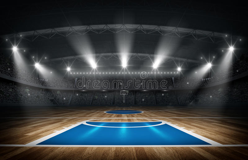 Arena do basquetebol, rendição 3d ilustração stock