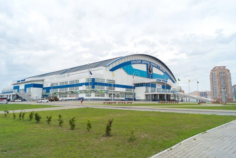 Arena Erofey, l'etichetta - arena regionale Erofey dell'hockey del palazzo immagine stock libera da diritti