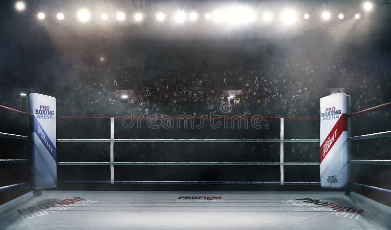 Arena för yrkesmässig boxning i tolkning för ljus 3d stock illustrationer