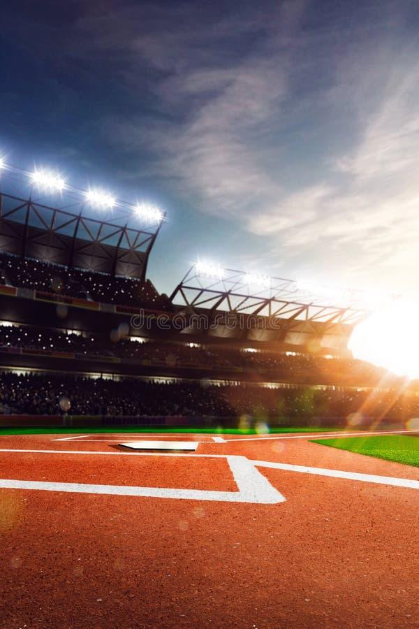 Arena grande do basebol profissional na luz solar foto de stock