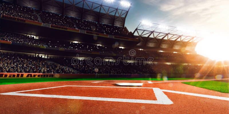Arena grande do basebol profissional na luz solar imagens de stock