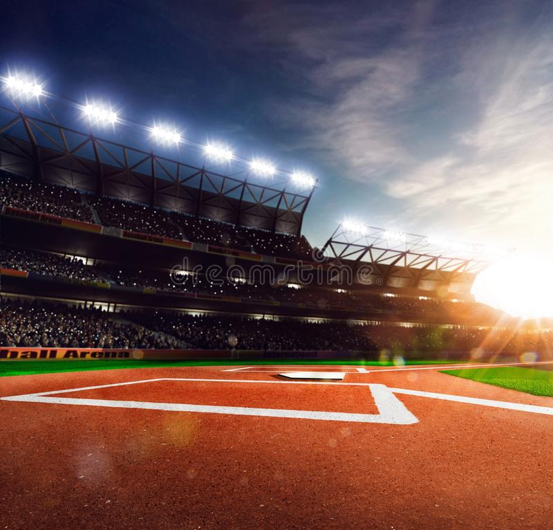 Arena grande do basebol profissional na luz solar fotografia de stock royalty free