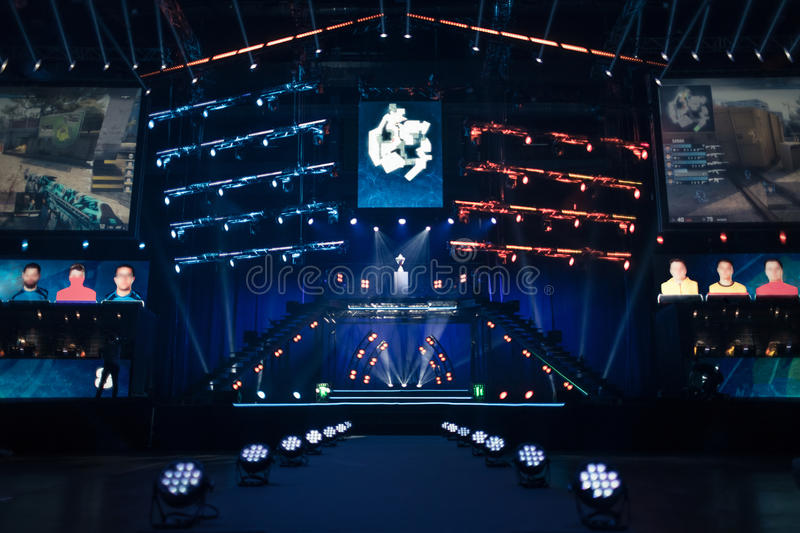 Arena hosting a gaming tournament stock photography