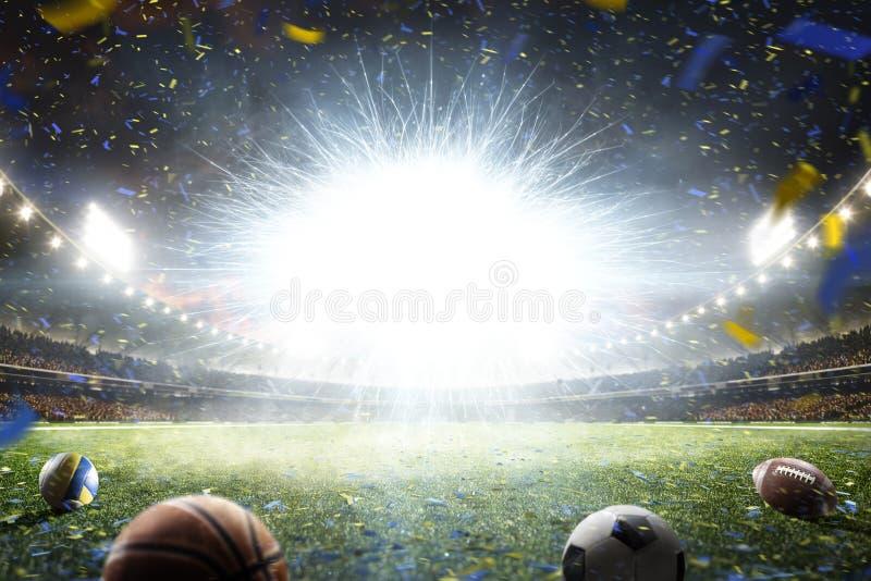 Arena magnífica del fútbol de la noche vacía con el flash fotografía de archivo libre de regalías