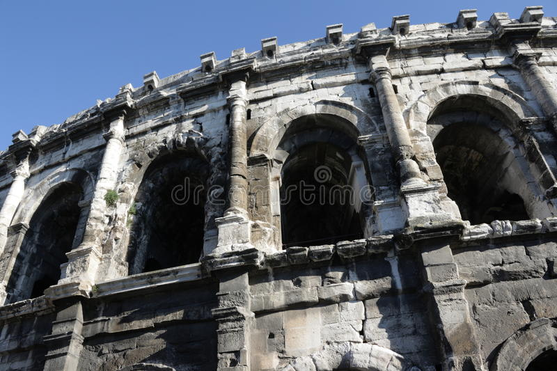 Arena of Nimes. In Gard,Languedoc region of France stock photo