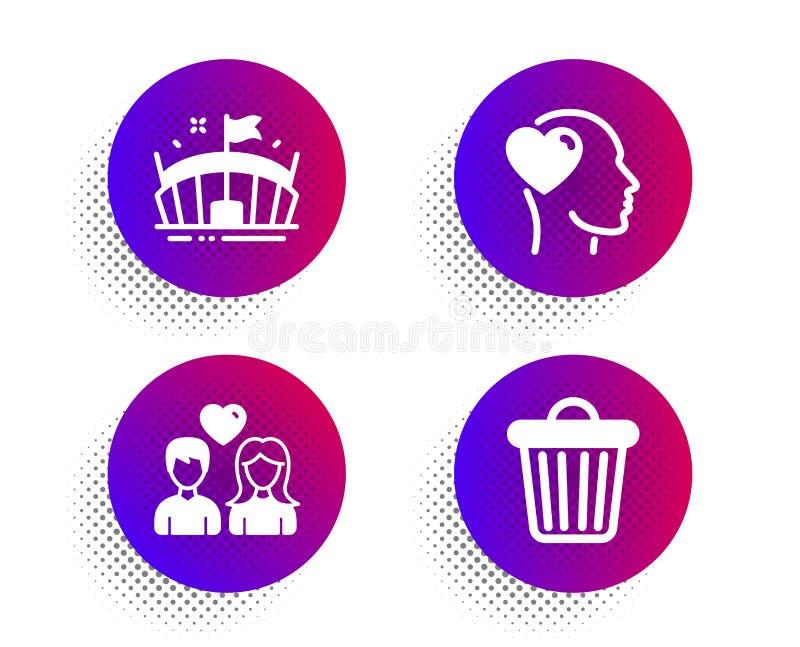 Arena, pary miłość i przyjaciel ikony ustawiać, Kosz na ?mieci znak Bawi się stadium, ludzie w miłości, śmieci setu artystyczny b royalty ilustracja