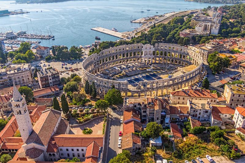 Arena in Pula stock photo