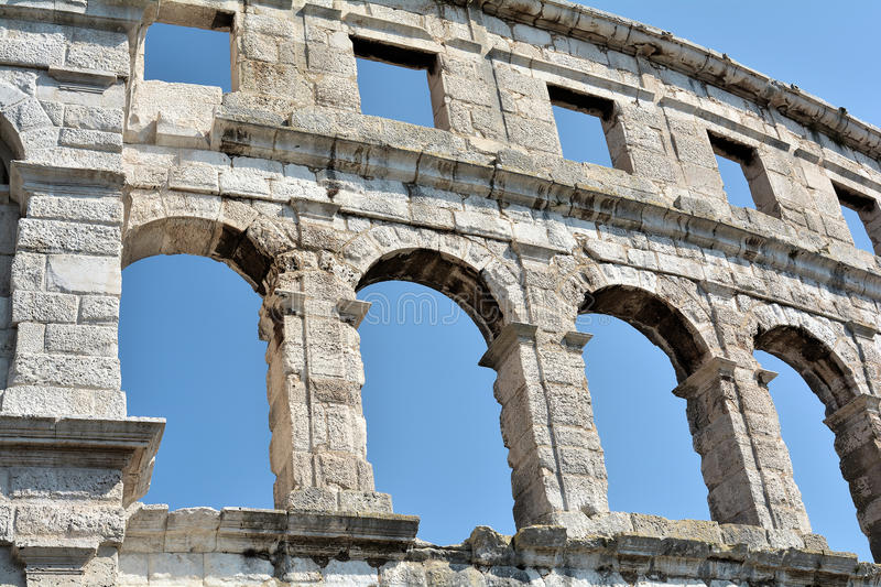 The Arena of Pula. The Arena in the old town of Pula in Croatia stock photography