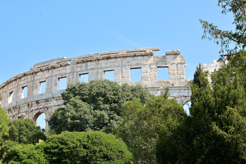 The Arena of Pula. The Arena in the old town of Pula in Croatia royalty free stock photo