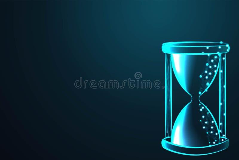 Arena que corre a través de los bulbos de un reloj de arena que mide el tiempo de paso en una cuenta descendiente a un plazo, mal libre illustration