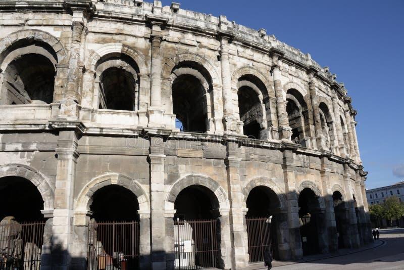 Arena romana de Nimes em Gard, França fotografia de stock
