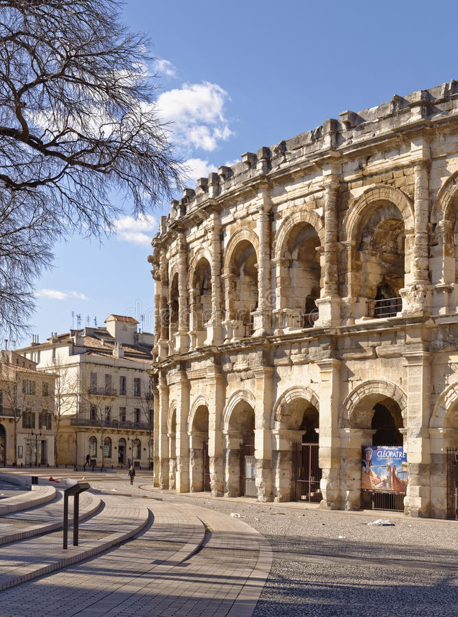 Arena romana em Nimes France foto de stock