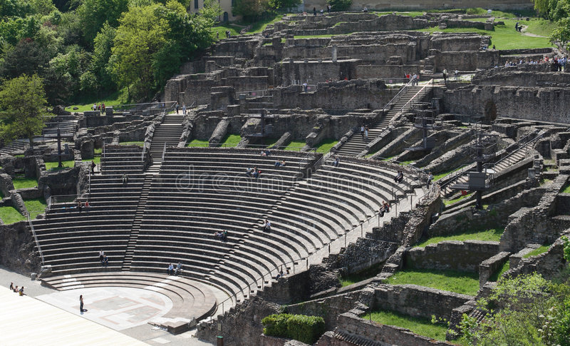 Arena romana en Lyon, Francia fotos de archivo