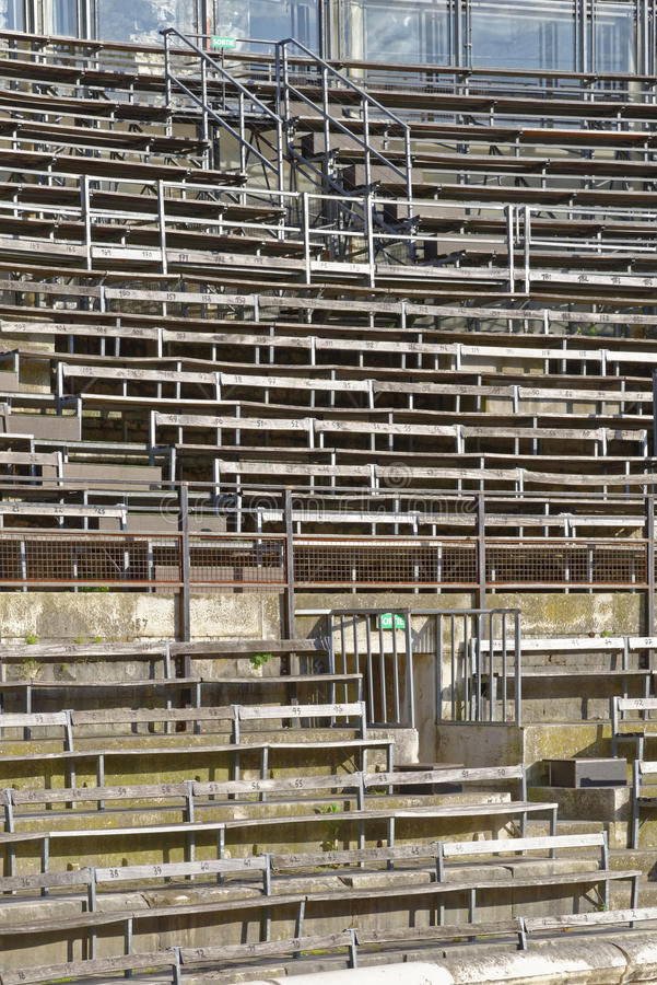 Arena seating. Image takne of seating at the roman arena, nimes Languedoc-Roussillon, France, Europe royalty free stock photo
