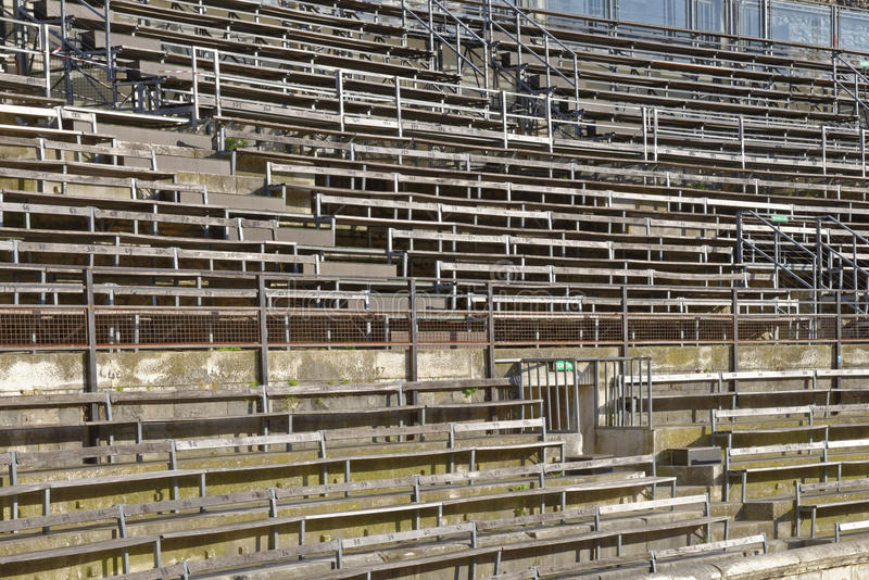 Arena seating. Image takne of seating at the roman arena, nimes Languedoc-Roussillon, France, Europe royalty free stock photos
