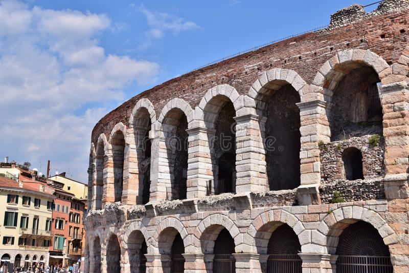 Arena of Verona in Italy. Arches arena of Verona in Italy royalty free stock photos