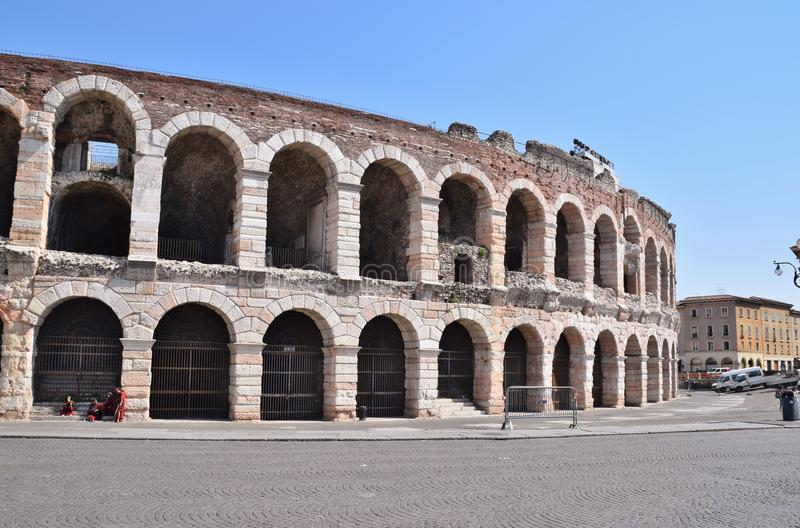 Arena of Verona in Italy. Arches arena of Verona in Italy royalty free stock images