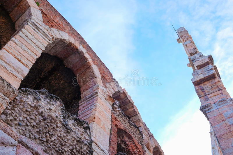 Arena of Verona wall. (in italian - Arena di Verona). This building is an ancient amphitheater, today used as a theatre stage royalty free stock photos