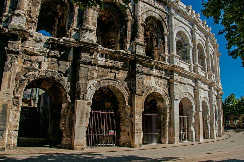 Arena von Nimes, ein Amphitheater Roman Eras lizenzfreie stockfotos