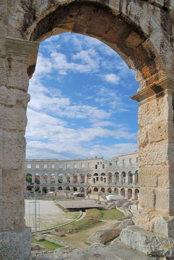 Arena von Pula, Istria, Kroatien stockbilder