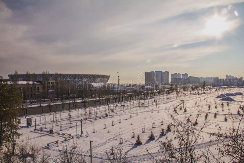 Arena y luz del sol del fútbol imagen de archivo libre de regalías