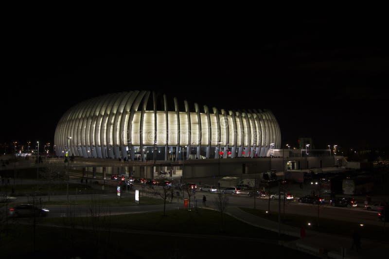 Arena, Zagreb, Kroatien, Sport und Konzertsaal nachts, am 10. März 2018 lizenzfreies stockfoto