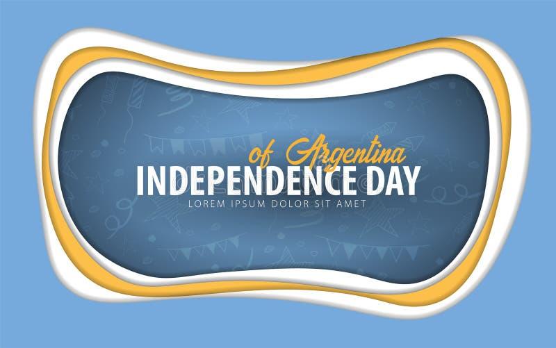arenaceous Självständighetsdagenhälsningkort papperssnittstil vektor illustrationer