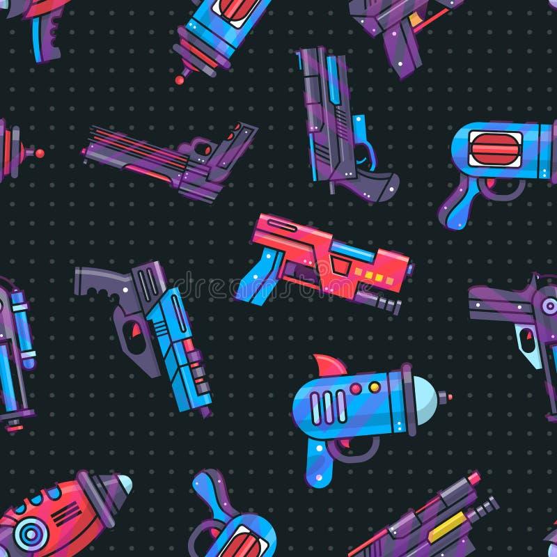 Arenador del juguete del vector del arma de la historieta para el juego de los ni?os con la arma de mano y el raygun futuristas d stock de ilustración