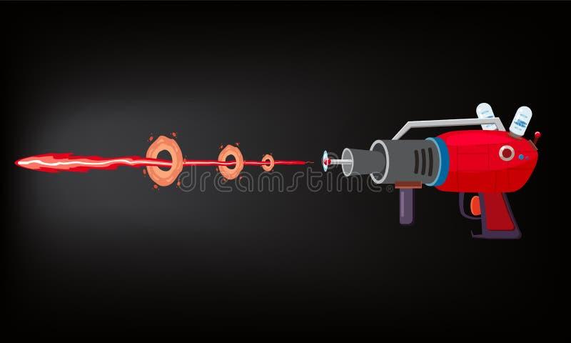 Arenador, laser, juego gan, rayo y flash, ejemplo del vector, silueta de la historieta, rojo, azul, oscuridad del tiro, para los  ilustración del vector