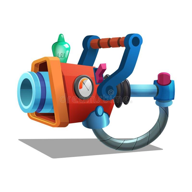 Arenador retro del espacio de la historieta, arma de rayo, arma de laser ilustración del vector