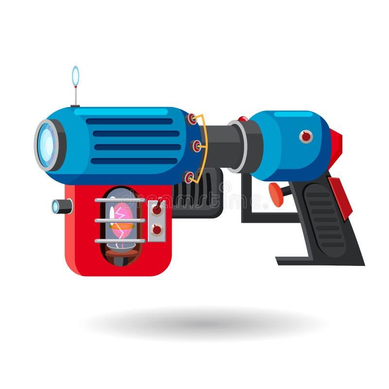 Arenador retro del espacio de la historieta, arma de rayo, arma de laser Ilustración del vector Estilo de la historieta stock de ilustración
