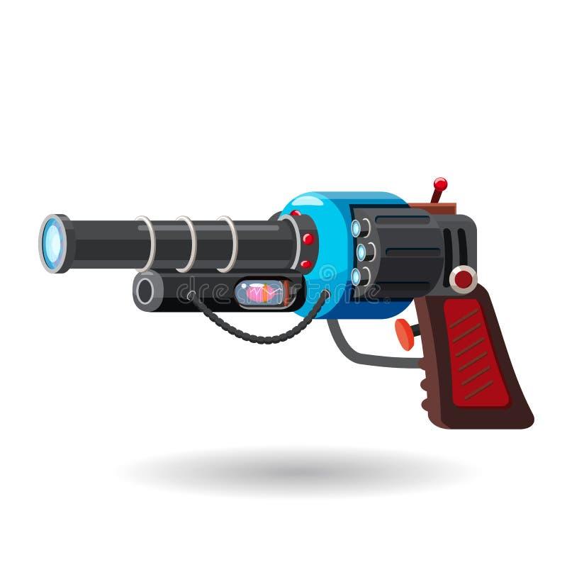 Arenador retro del espacio de la historieta, arma de rayo, arma de laser Ilustración del vector Estilo de la historieta libre illustration