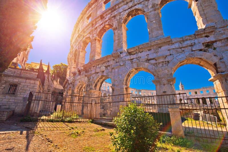 Arenapula Roman amfitheater bij zonsondergangmening royalty-vrije stock foto