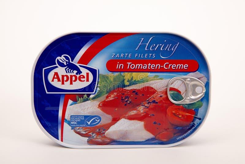 ARENQUES de APPEL en la salsa de Tomatoe fotografía de archivo