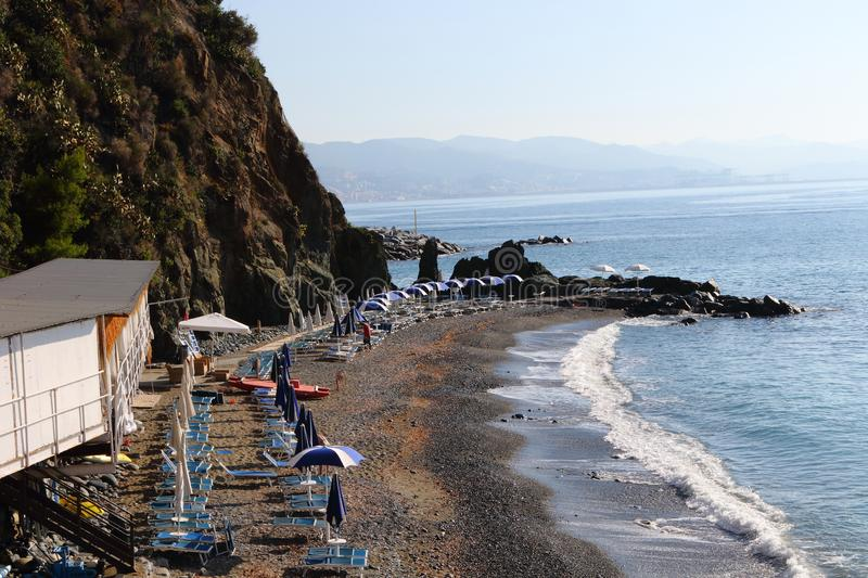 Arenzano- Liguria Italy. The beach of Marina Piccola. At the beginning of the sea promenade that starts towards Cogoleto and Varazze obtained from the old stock photo