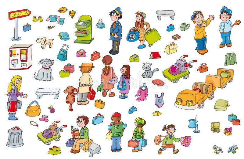 Areoprto d'autocollants d'enfants avec des valises illustration stock