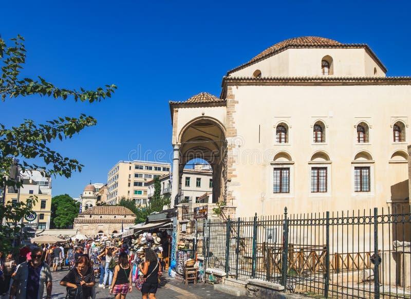Areos ulica jest pchli targ w Ateny, Grecja fotografia stock