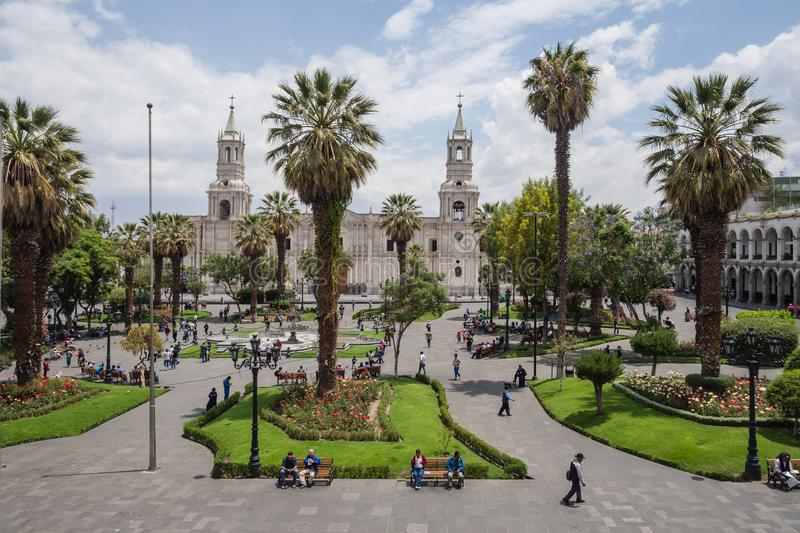 Arequipa city main square and cathedral stock image