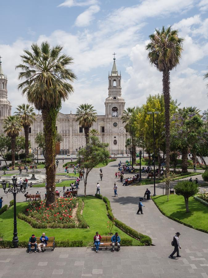 Arequipa city main square and cathedral royalty free stock photos