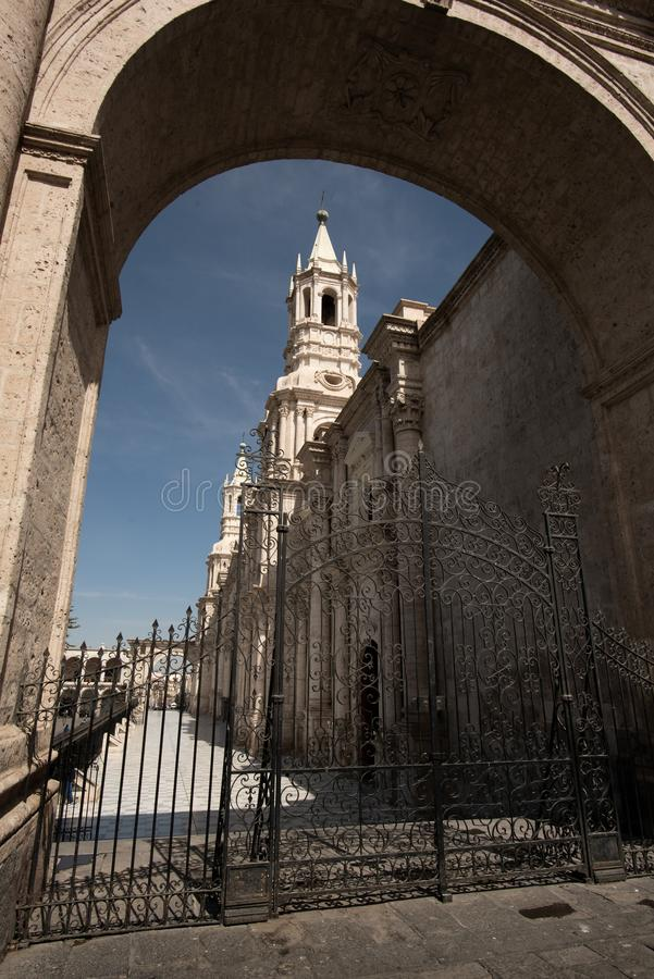 MAIN SQUARE AND CATHEDRAL CHURCH IN AREQUIPAPERU stock image