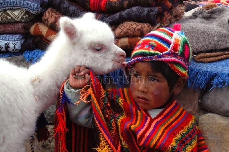 AREQUIPA, PERU - 6 DE JANEIRO: Rapaz pequeno Quechua não identificado em t fotografia de stock royalty free