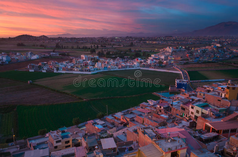 Arequipa Peru from Sachaca. Arequipa is the second largest city in Peru after Lima stock photo