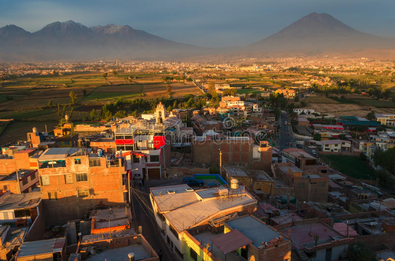 Arequipa Peru from Sachaca. Arequipa is the second largest city in Peru after Lima stock photography