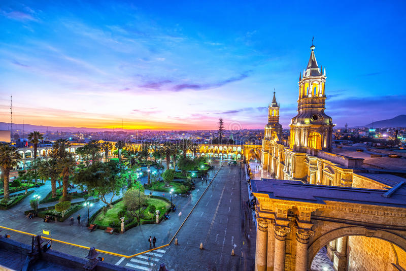 Arequipa Plaza at Night royalty free stock image