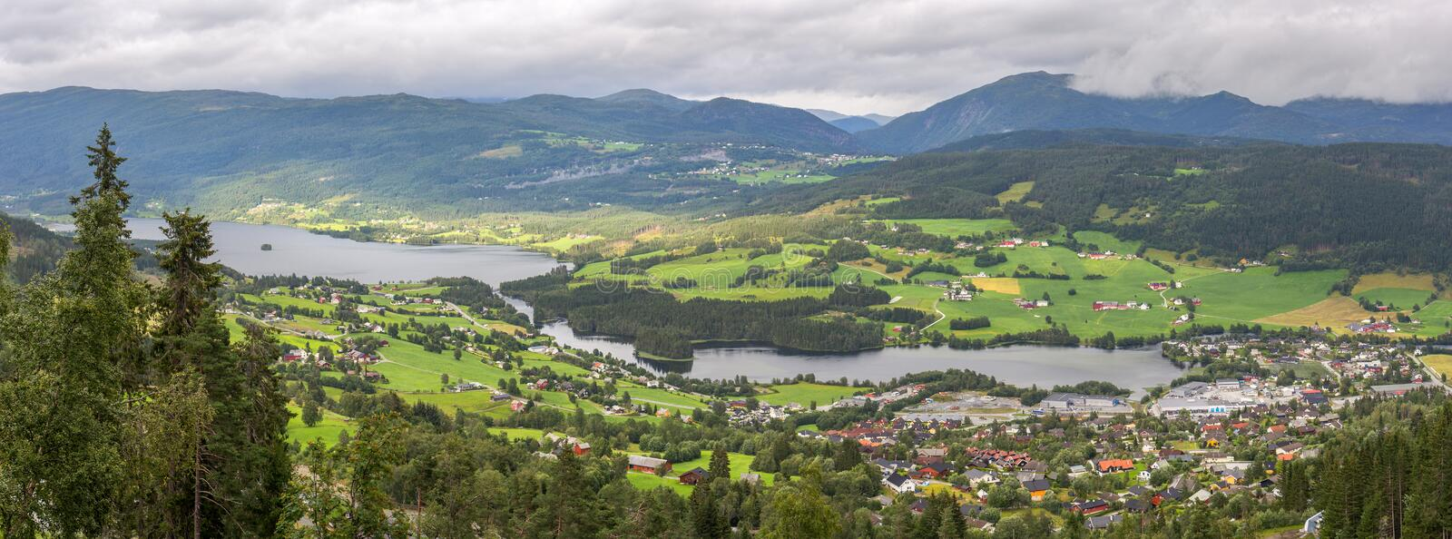 Arerial panoramic view of Voss, Norway stock image