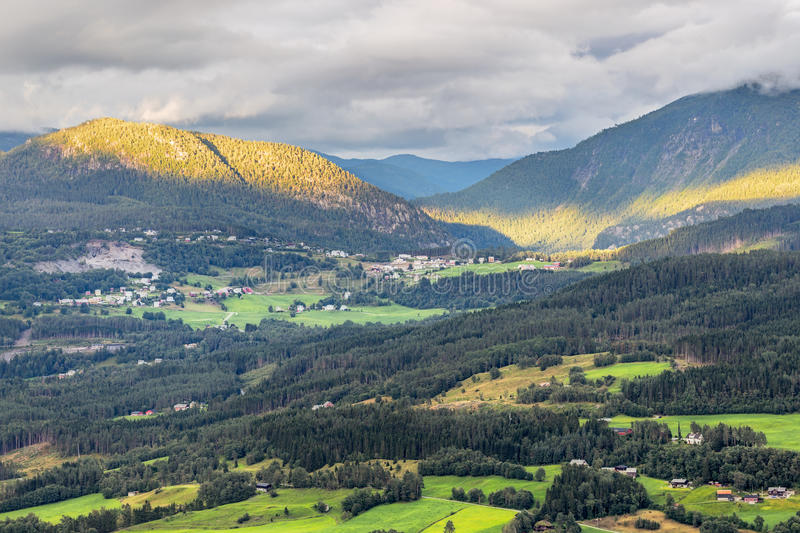 Arerial panoramic view of Voss, Norway stock photography