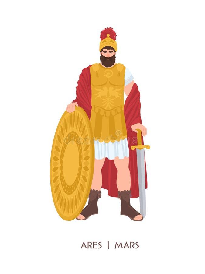 Ares eller Mars - olympisk gud eller gud av kriget i grekisk och romersk religion och mytologi Bärande harnesk för manligt tecken vektor illustrationer