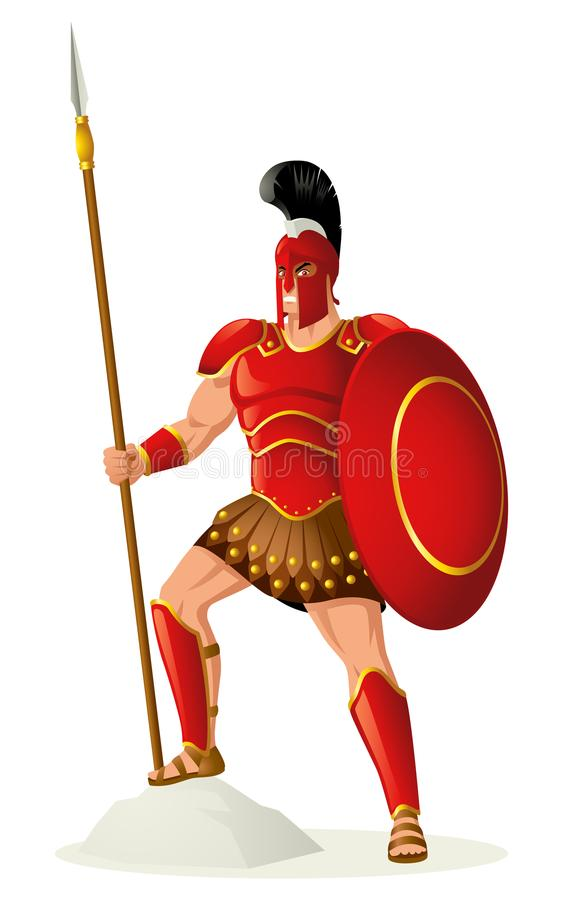 Ares guden av kriget royaltyfri illustrationer