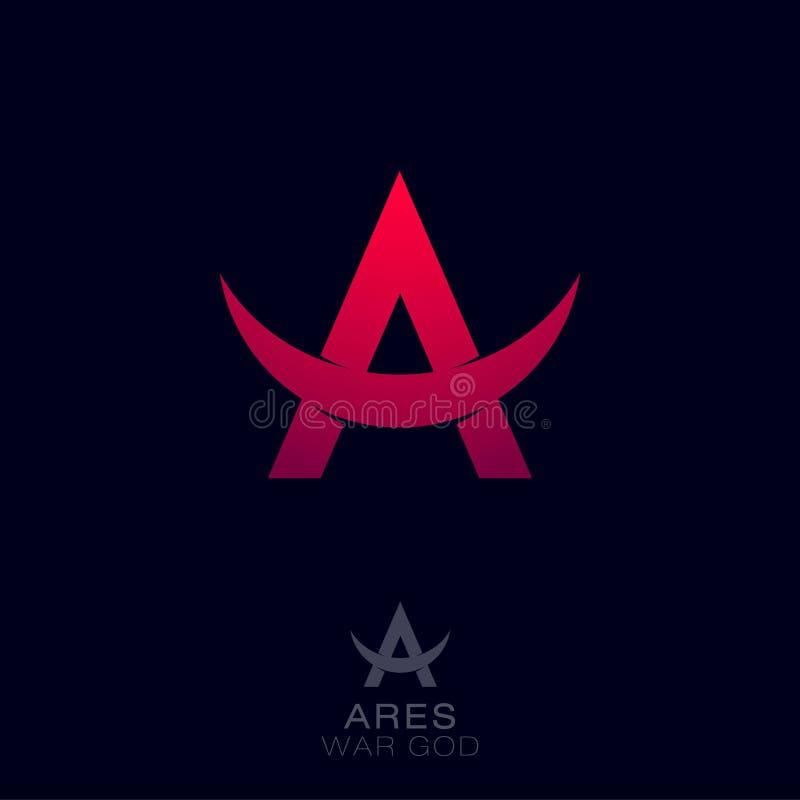 Ares logo Grekisk kriggud av emblemen Röd bokstav A med tjurhorn stock illustrationer