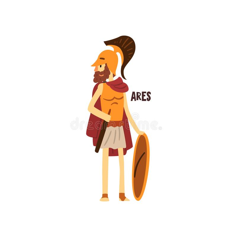 Ares olympisk grekisk gud, illustration för vektor för forntida Grekland mytologitecken på en vit bakgrund vektor illustrationer